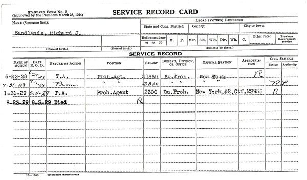 Image of a service record card for Richard J. Sandlands
