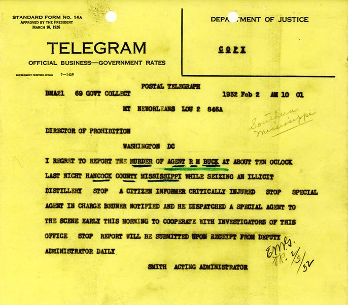 Robert Buck Notification of Death Telegram