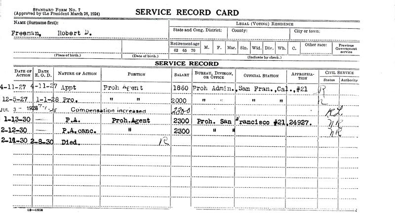 Image of Robert D. Freeman's service record card