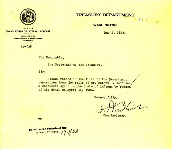 Telegram announcing the death of Robert Anderson