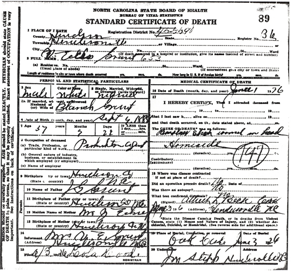 Image of Vaughn E Grant certificate of death