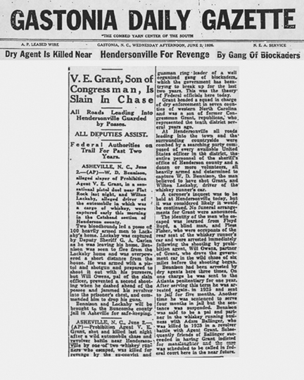 Image of Gastonia Daily Gazette newspaper article with the headline -  V. E. Grant, Son of Congressman, Is Slain in Chase