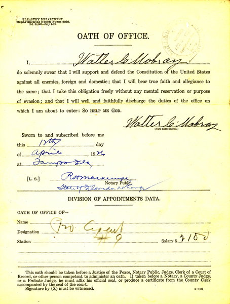 Image of Walter C Mobray oath of office document