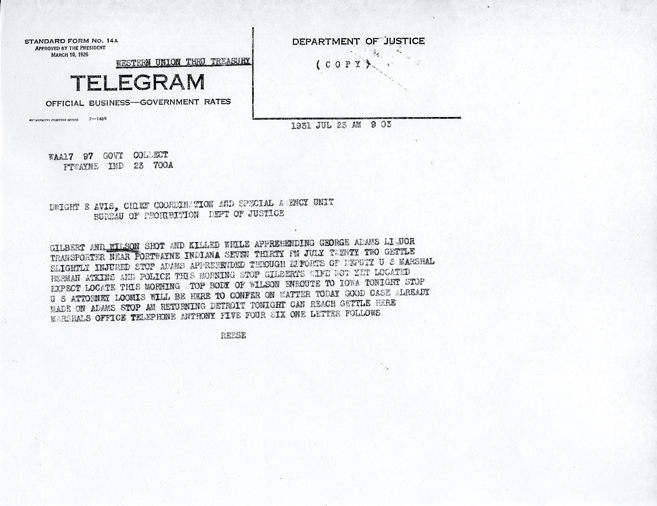 Image of telegram regarding death of Walter Gilbert