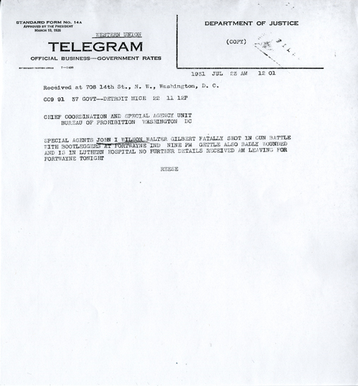 Image of telegraph notification of shooting of Walter Gilbert