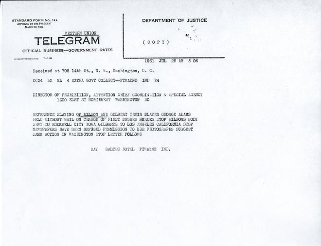 Image of telegram regarding use of photos in shooting of Walter Gilbert