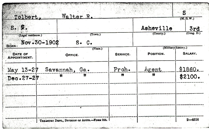 Image of Walter R. Tolbert's Service Record Card document