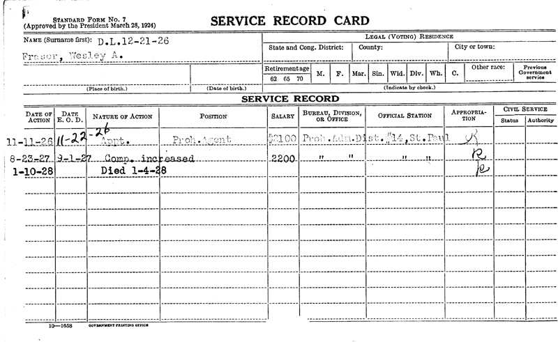 Image of Wesley A Faser's service record card