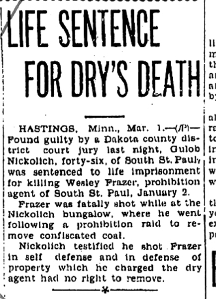 Image of a newspaper article with headline, Life Sentence for Dry's Death