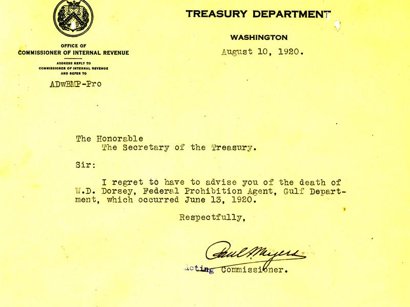 Picture of the death announcement from the Treasury Department regarding William Daniel Dorsey