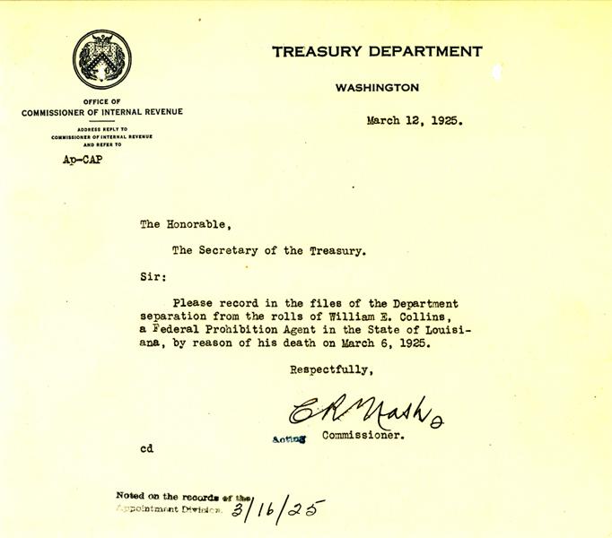 Telegram announcing the death of William Collins