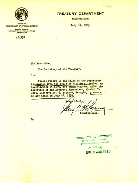 Image of letter to files for the death of William Braden
