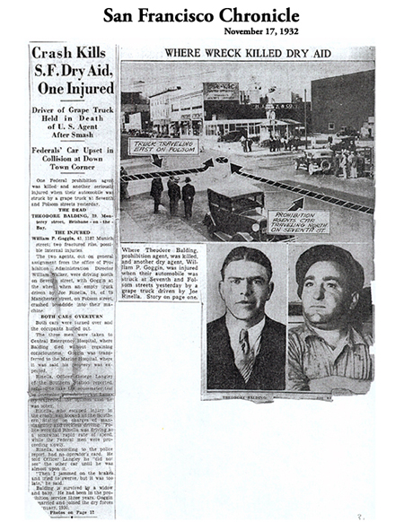 Image of newspaper article in San Francisco Chronicle, dated, November 17, 1932, with headline: Crash Kills S.F. Dry Aid, One Injured