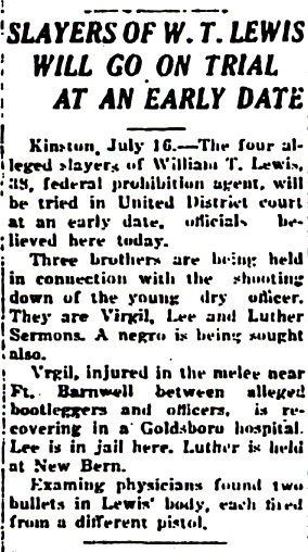Image of a newspaper article with headline, Slayers of W. T. Lewis Will Go on Trial at an Early Date