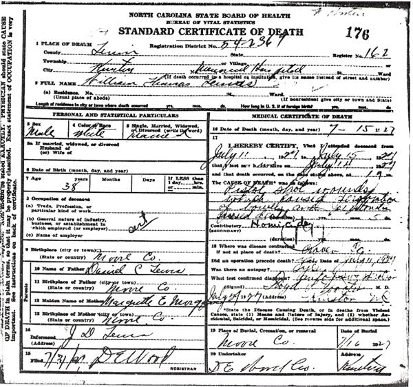 Image of William T Lewis certificate of death