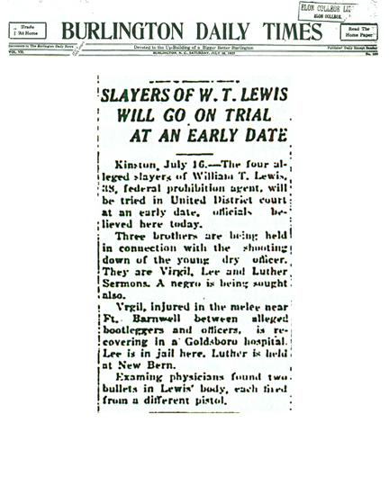 Image of The Burlington Daily Times article with headline, Slayers of W. T. Lewis Will Go on Trial at an Early Date