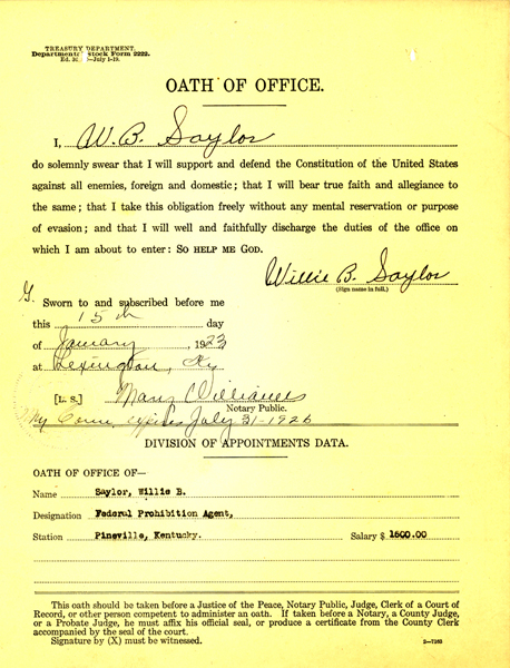 oath of office for willie saylor