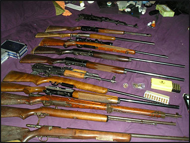 Some of the evidence seized during the ATF–led six year Aryan Brotherhood of Texas investigation.