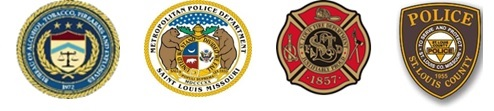 Image of seals for the ATF, St. Louis Police Department, St. Louis Fire Department and St. Louis County Police Department