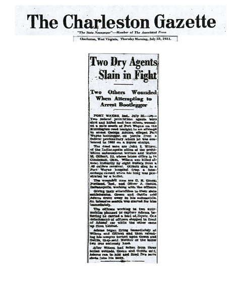 Image of newspaper article in the The Charleston Gazette with headline: Two Dry Agents Slain in Fight