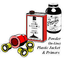 Image of an illustration of a jar and canister of gun powder and a plastic jacket and primers.