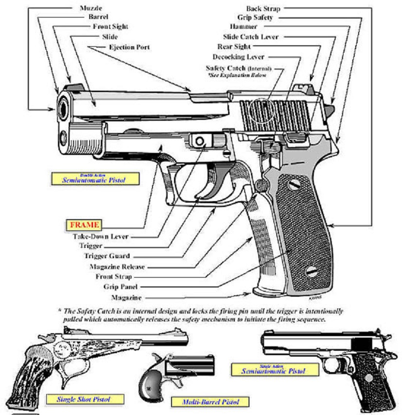 Image (large) of an illustration showing the primary characteristics exhibited in the Pistol category.
