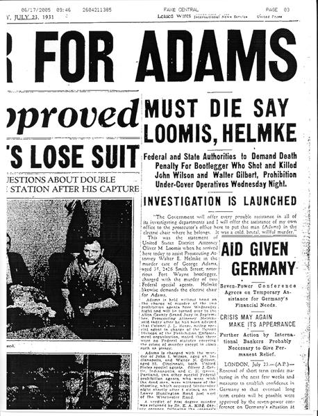Image of newspaper article with headline: Must Die Say Loomis, Helmke