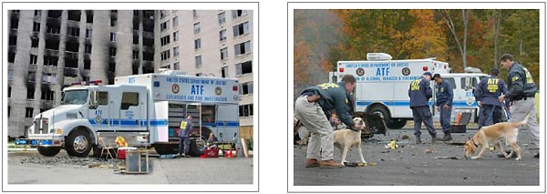 Two images. The image on the left is the current ATF National Response Team (NRT) vehicle and an ATF agent next to it.  The image on the right shows ATF agents and excellerant detection canines investigating an arson with the NRT vehicle in the background.