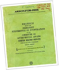Image of the original Arson-for-Hire book used by ATF investigators throughout the late 1970s and early 1980s until the Anti-Arson Act of 1982 was passed.