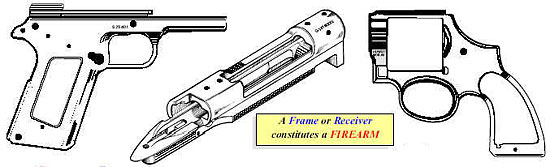 Image of a frame or receiver constitutes a firearm.