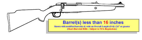 Image of a rifle with modified barrel(s) that are less that 16 inches in length and with an overall length of 26 inches or greater.