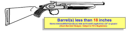Image of a shotgun that has a modified barrel(s) of less than 18 inches with an overall length of 26 inches or greater.