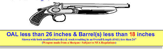 Image of a shotgun shown with both modified barrel(s) with a length less than 18 inches and a modified stock resulting in an overall length less than 26 inches