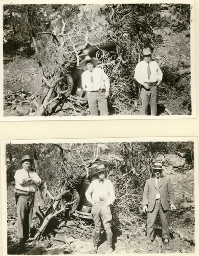 Image of Searchers posing in front of Sutton's partially visible sedan, still hidden by underbrush.