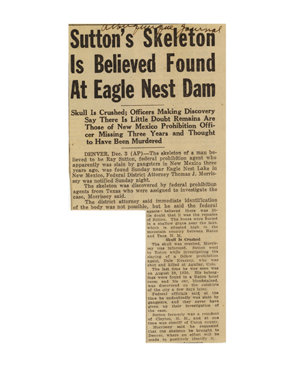 Image a newspaper article with the headline, Sutton' Skeleton is Believed Found at Eagle Nest Dam