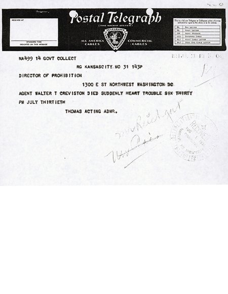 Image of a telegram regarding the death of Walter T. Creviston