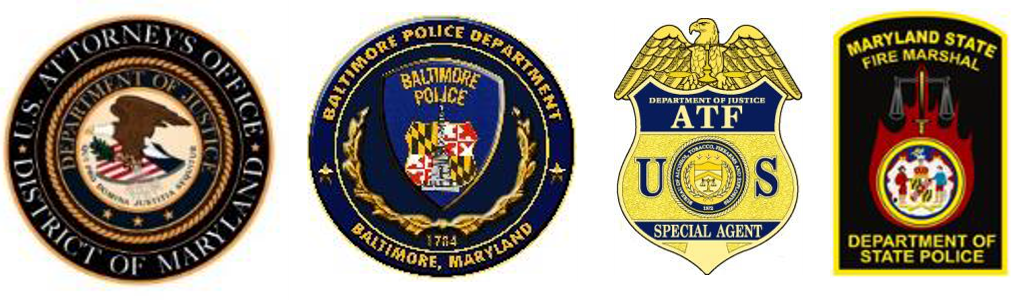Image of the DOJ Seal, Baltimore Police Seal, Secial Agent ATF Badge, and Fire Marshals Seal.