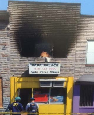Image of ATF Agents at the arson at the Papa Palace Restaurant in Baltimore, MD.