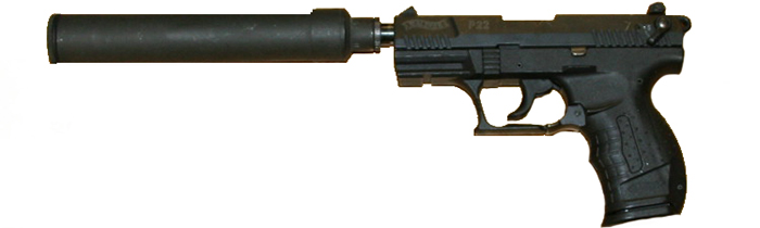 Image of a Walther P 22 with suppressor