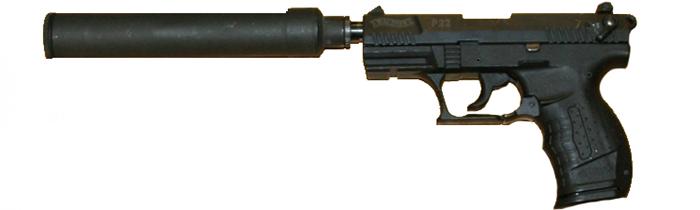 Imagen de un Walther P 22 con supresor