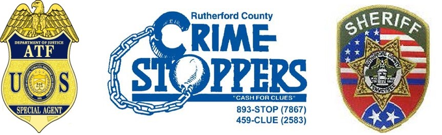 ATF special agent badge, Rutherford County Crime Stoppers logo, and Rutherford County Sheriff's badge