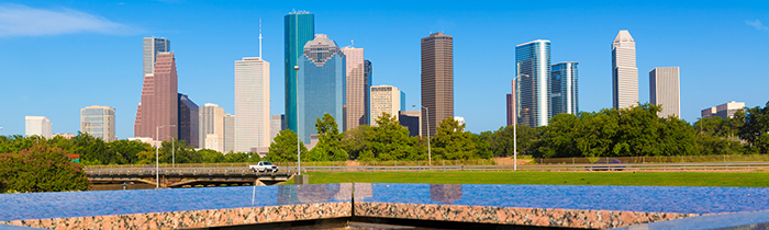 Image of the Houston skyline and memorial pool