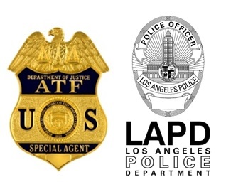 Image of ATF and Los Angeles Police Department badges side by side