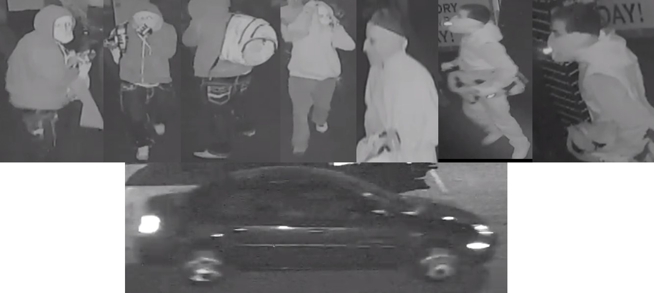 Image of the wanted suspects wearing a jacket with their face covered, and the dark colored suspect vehicle.