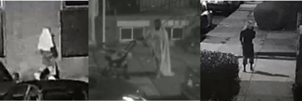 An unidentified male suspect entering is shown approaching the garage in the first image, pushing a stroller in the second image, and standing outside of the garage in the third image.