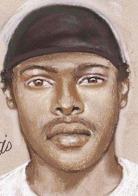 Sketch of the suspect wearing a black hat, with medium length black hair.