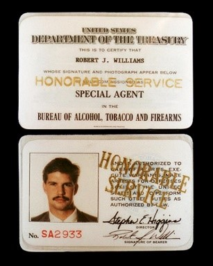 Image of Special Agent Robert Williams' credentials
