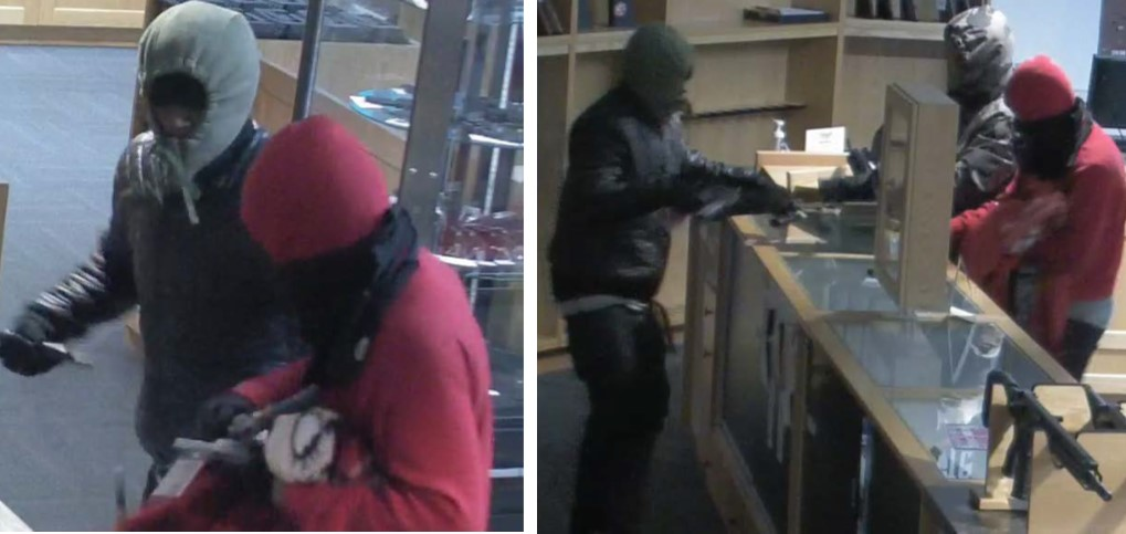 Image of suspects wanted for the theft of firearms from Trop's Gun Shop.