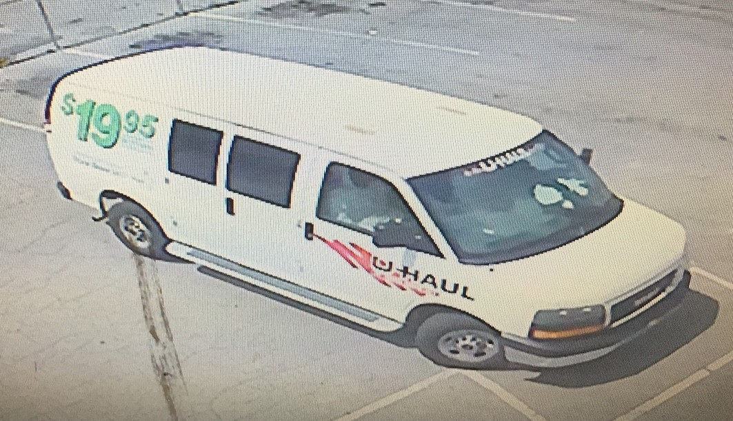 Image of a white UHAUL van that was used in the robbery