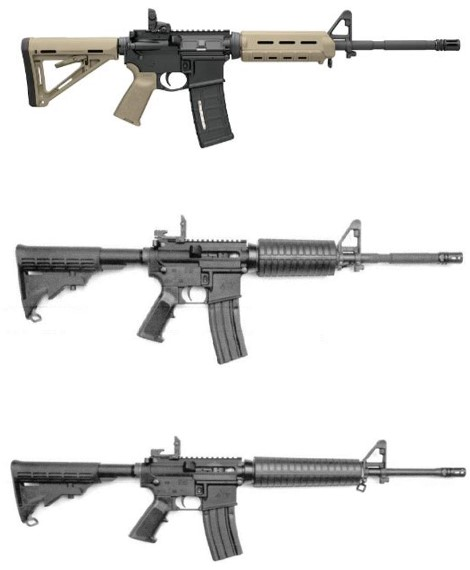 Image of the firearms stolen from the AX Tactical Firearms & Accessories store.
